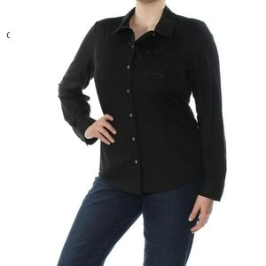 Tommy Hilfiger Black Embroidered Button Up Shirt